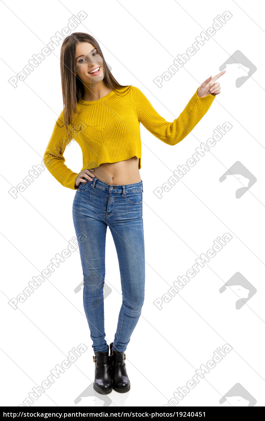 happy, girl, pointing - 19240451