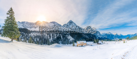 snowy panorama in the alps mountains