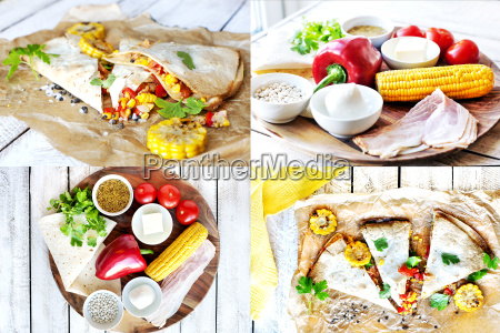 collage., ingredients, for, , mexican, quesadilla - 19246575