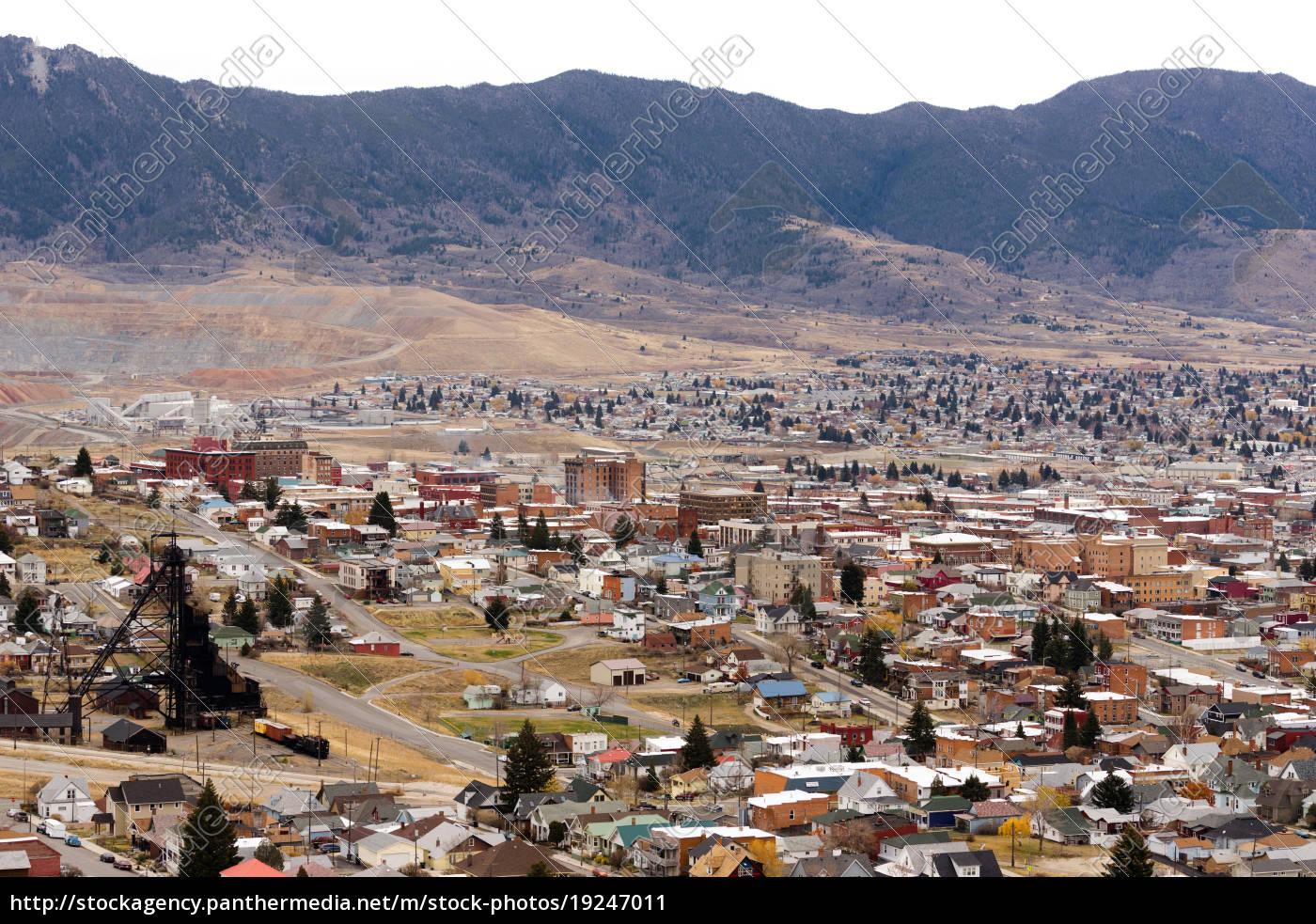 high, angle, overlook, butte, montana, downtown - 19247011