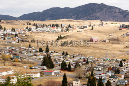 high, angle, overlook, walkerville, montana, downtown - 19247013