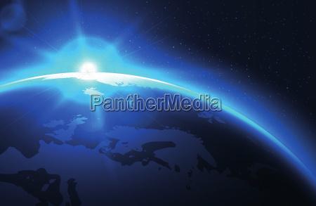 sun, raising, over, the, blue, planet - 19247319