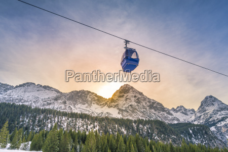cable car route over the alps