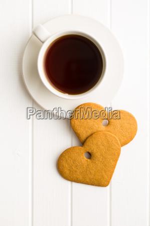 gingerbread heart shape and coffee mug