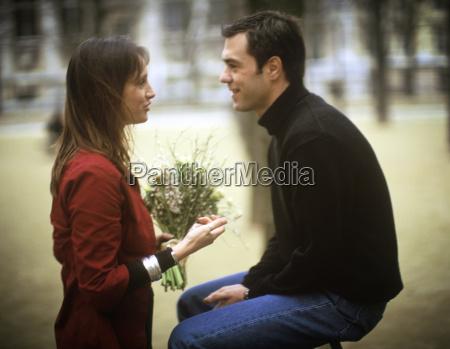 parisian couple talking
