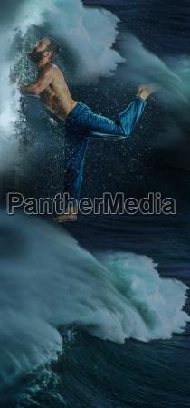 the male break dancer in water