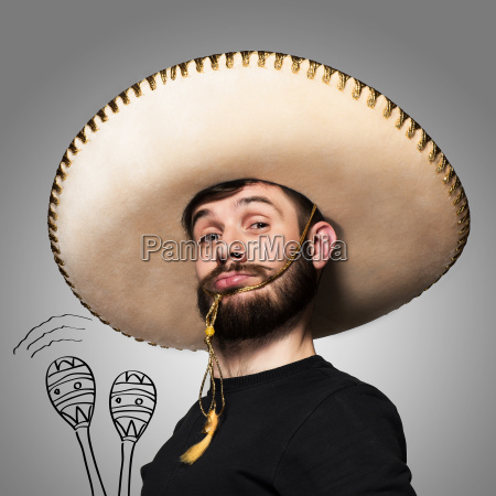 portrait, of, funny, man, in, mexican - 19274877