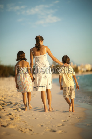 mother and two children walking along