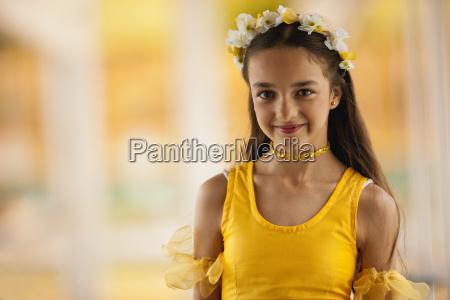 portrait of tween girl wearing ballet
