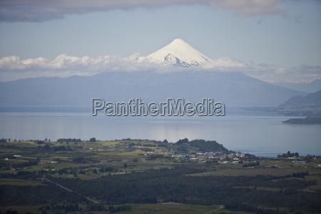 snowcapped mountain rising above lake