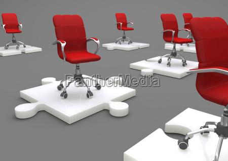 teamwork red swivel chairs und porcelain