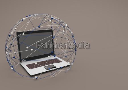 3d illustration laptop in a network