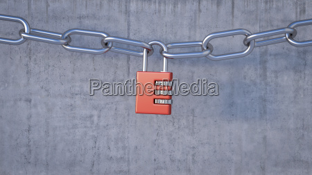 combination lock connecting chains 3d rendering