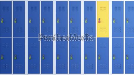 yellow locker between rows of blue