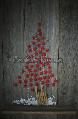 red stars shaped like a christmas