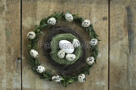 wreath with quail eggs and goose