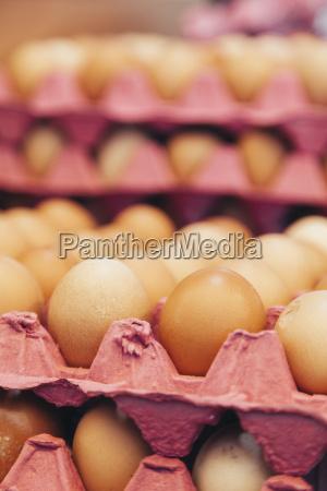 brown organic free range eggs on