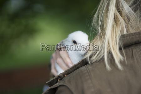 little hare on shoulder of blonde