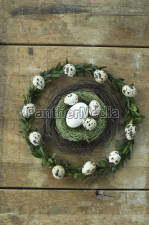easter wreath and easter nest with