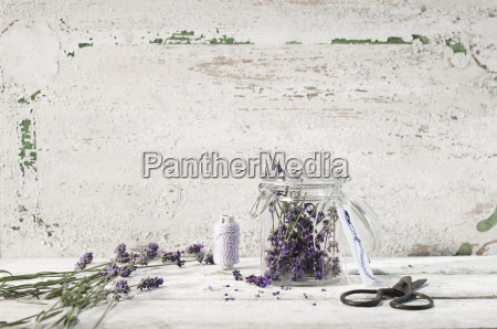 lavender blossoms in a glass