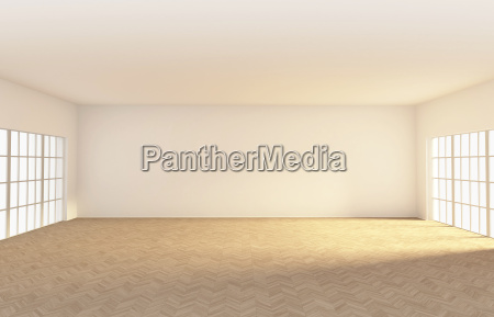 empty room with parquet 3d rendering