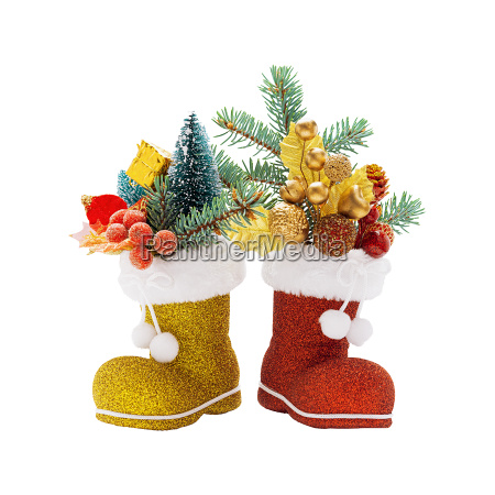 two boots of santa claus with