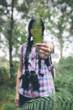 womans hand holding leaf of fern