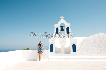 greece santorini oia back view of