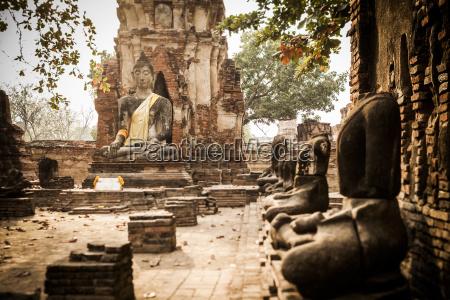 thailand ayutthaya wat mahathat at historical