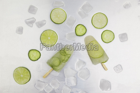 cucumber and lime ice lollies ice