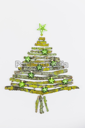christmas tree shaped of mossy branches