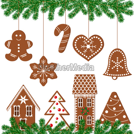set of decorated gingerbread figures