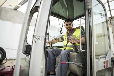 construction worker in the caterpillar