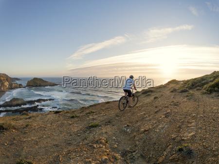 portugal senior man mountain biking at