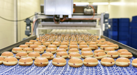 production line in a baking factory