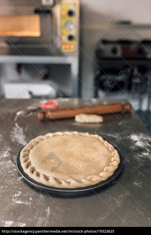 prepared, pizza, dough, on, baking, tray - 19323625