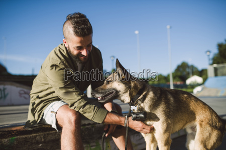 man with his dog in a