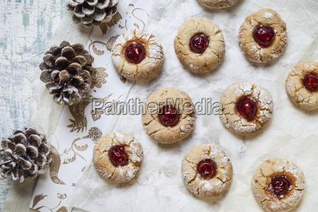 home baked christmas cookies thumbprint cookies