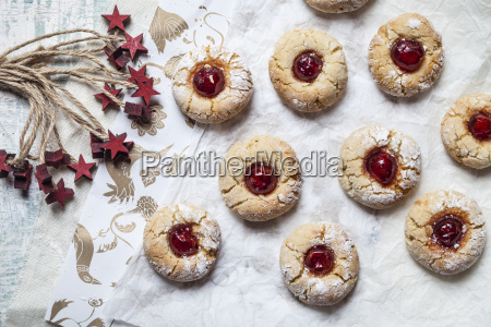 home baked christmas cookies thumbprint cookies