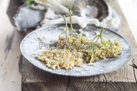 baked elder flowers with icing sugar