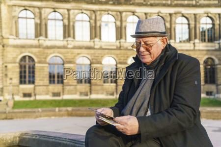 germany dresden senior man looking at