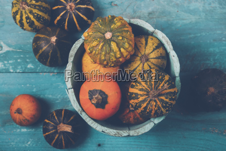 ornamental pumpkins in bowl