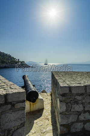 greece hydra view from fortified wall