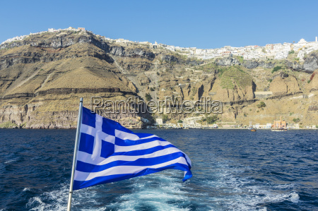 greece santorini greek flag with fira