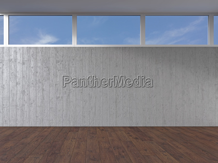 empty room with concrete wall and