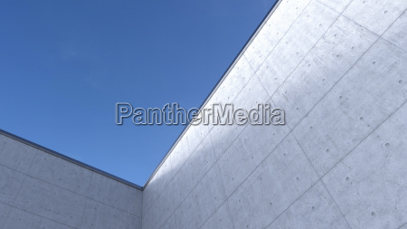 high concrete wall 3d rendering