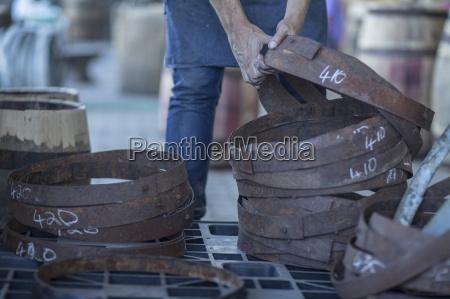 cooperage cooper taking iron rings