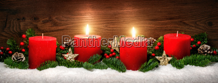 advent decoration with two candle flames