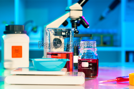 researchers work in scientific laboratory