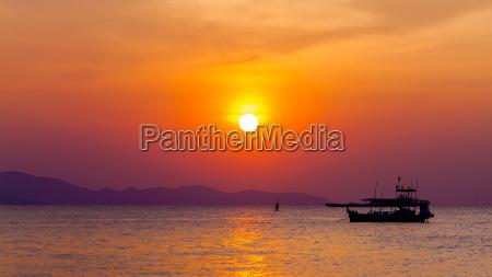 beautiful landscape sunset on the beach